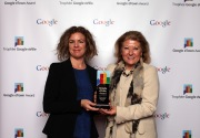 Lois Brown receives the award from Google's Sophie Chesters
