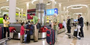 A luggage carousel at Dubai International Airport