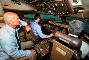 Pilot training in a 777 full-flight simulator. Boeing photo.