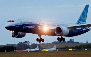 The 787-9 Dreamliner test aircraft lands in Auckland. Boeing photo.