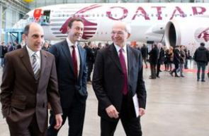 Qatar Airways CEO Akbar Al Baker with Airbus President and CEO Fabrice Bregier, Airbus President and Didier Evrard, Executive Vice -President of A350 XWB program.  Airbus Photo.