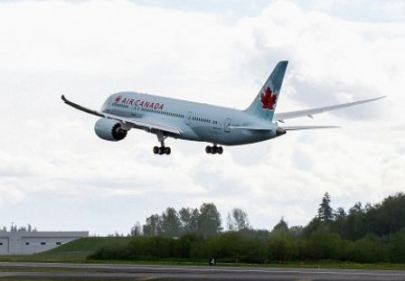 Air Canada's first 787 Dreamliner during a test flight. Boeing photo.