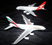 Models of the Emirates and Qantas A380s.
