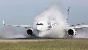 The A350 water test in France. Airbus photo.