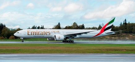 The airline's 100th 777-300ER  takes off from Everett, Wash. Boeing photo.