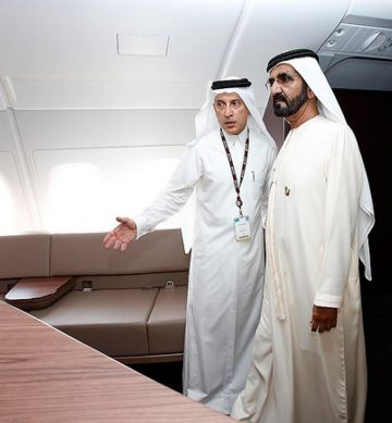 Touring Qatar Airways A380 with the airline's GCEO, Akbar Al Baker.